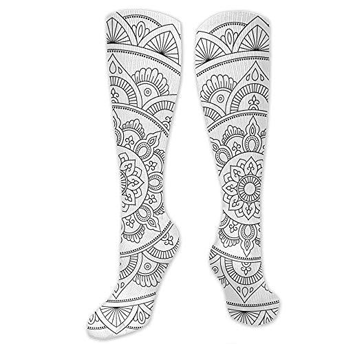 Zome Lag Vrijetijdssokken, hardloopsokken, atletic crew sokken, grappige sokken, cirkelpatroon in de vorm van mandala voor henna heren jurk vakantie sokken, unisex tennissokken 50 cm