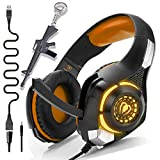 Orange PS4 Gaming Headset with Mic,Newest Deep Bass Stereo Sound Over Ear Headphones with Noise Isolation LED Light for Xbox one PC Laptop Tablet Mac,Kids Teen Gifts (Orange)