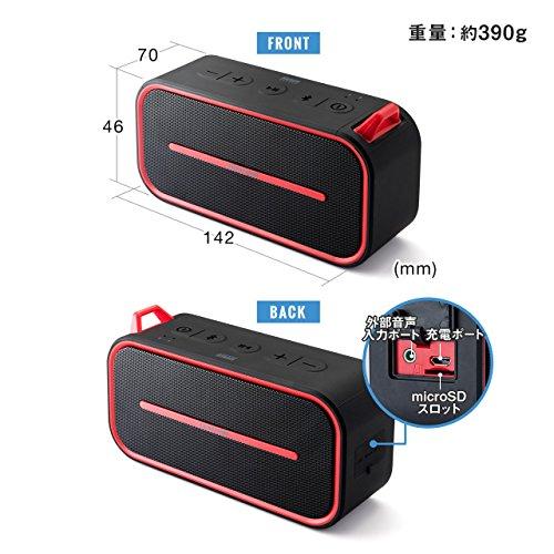 サンワダイレクトBluetoothスピーカーポータブル防水&防塵認証microSD対応Bluetooth4.26Wレッド400-SP069R