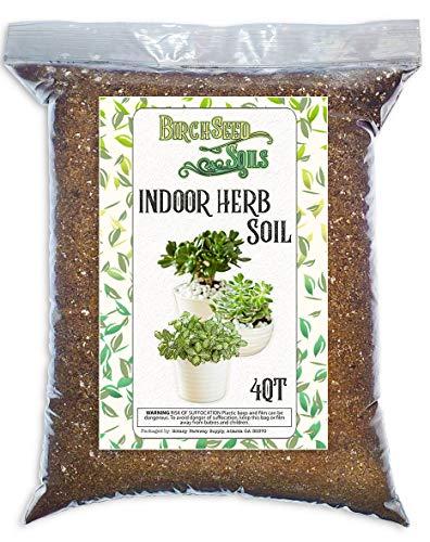 Indoor Herb Soil Mixture All Natural Blended Perlite Soil for Indoor Herb Planters, Best for Indoor Kitchen and Garden Herb Growing - 4 Quart Bag