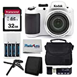 Kodak PIXPRO AZ401 Astro Zoom 16MP Digital Camera (White) + Point & Shoot Camera Case + Transcend 32GB SD Memory Card + Rechargeable Batteries & Charger + USB Card Reader + Table Tripod + Accessories