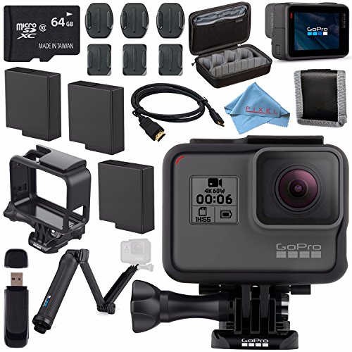 GoPro HERO6 Black CHDHX-601 + 64GB microSDXC + Battery for Gopro Hero + GoPro 3-Way + Micro HDMI Cable + Case for GoPro Hero and Accessories + Memory Card Wallet Bundle