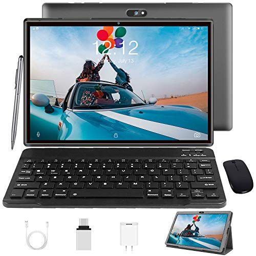 Tablet 10 Inch Tablet PC with Keyboard Android 10, Google GMS Certified, 3 GB RAM, 32 GB ROM / 128 GB Expandable, Quad Core, 4G Tablets with SIM Card Slot Unlocked, 8000 mAh, WiFi, Bluetooth, GPS