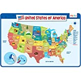merka Kids Placemats Educational Placemat Non Slip Reusable Plastic United States of America Map USA States Capitals Learning Placemat for the Dining and Kitchen Table
