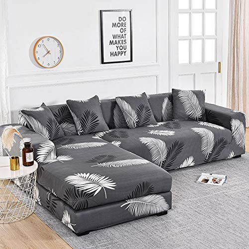 PPOS Printed L-Shape Chaise Longue Sofa Covers for Living Room Sofa Protector Anti-Dust Elastic Stretch Covers for Corner Sofa D2 1seat 90-140cm-1pc