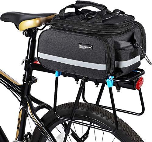 自転車 リアバッグ 2Way ハンドバッグ ショルダーバッグ 防水 拡張可能 ブラック 大容量