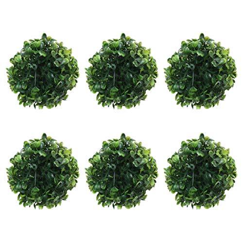 EXCEART - 6 bolas de boj artificiales, 10 cm, para casa, boda, decoración para el jardín, parte delantera de la terraza, para el patio trasero, para interiores y exteriores, color verde
