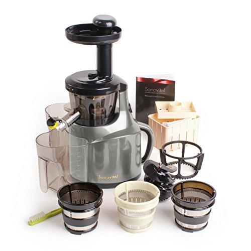 Sanovital 2VB • Extracteur de Jus Compact Vertical • Idéal pour votre cure Détox • Rotation Lente 43 tours • Silencieux • Compatible lave vaisselle • Sans BPA • Couleur Rouge métallisée, Gris métallisé, Blanc ou Noir