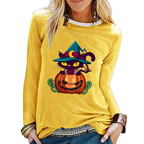 SLYZ Otoño E Invierno Nuevas Damas Halloween Nueva Calabaza Miau Estampado Fresco Y Dulce Belleza Camiseta De Manga Larga Top