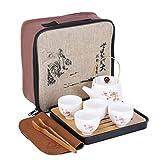 fanquare Japanisches tragbares Reisetee Set mit Reisetasche,Kirschblüten Kung Fu Teeservice für Erwachsene, 1 Teekanne und 4 Teetassen