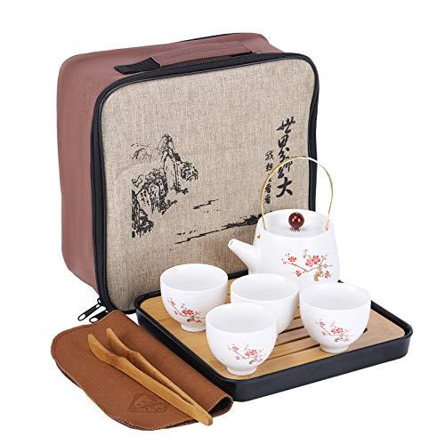 fanquare Japonés Juego de Té de Viaje Portátil con Bolsa, Servicio de Té Kung Fu en Flor de Cerezo para Adultos, 1 Tetera y 4 Tazas de Té