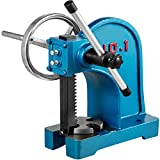 BestEquip Heavy Duty Arbor Press 1 Ton, Ratchet Leverage Arbor Press with Handwheel, Manual Desktop Metal Arbor Press 4-5/8 Inch Max. Working Height, for Riveting Punching Holes