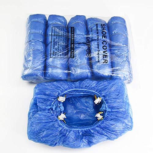 DEDC 1 Set di 100 pz Copriscarpe Impermeabile Forma T in Plastica Usa e Getta Blu Adatto a Distributore Copriscarpe Macchina Automatica per Stivale Uso a Casa Ufficio Negozio Hotel