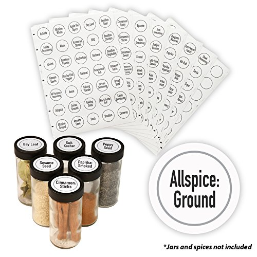 "AllSpice 315 Preprinted Water Resistant Round Spice Jar Labels Set 1.5""- Fits Penzeys and AllSpice Jars-4 styles to choose from (Modern White)"