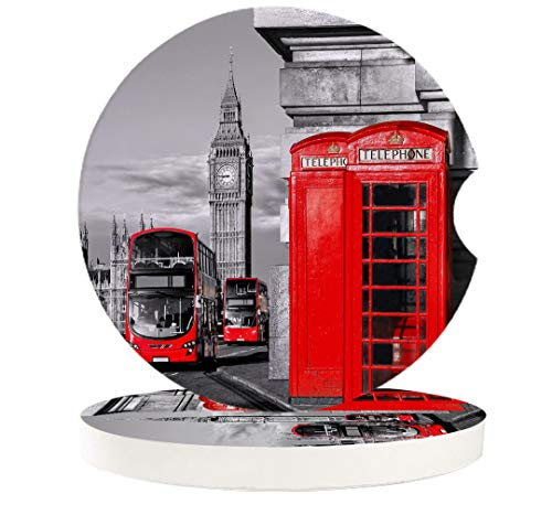London 6 Pcs Car Coasters Absorbent Ceramic for Drink - London Telephone Booth in the Street Traditional Cultural Icon England, Best Interior Decorative Cupholder for Car Accessory