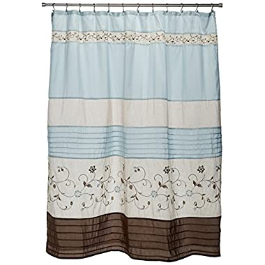 Serene Faux Silk Embroidered Floral Shower Curtain Blue 72x72