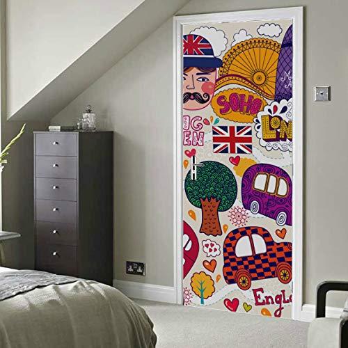 Architektur Kunst Retro Europäische Karte Selbstklebende Vinyl Abnehmbare Haustür Aufkleber Türverkleidung Aufkleber 30x79 Zoll (77x200cm) 2 Stück