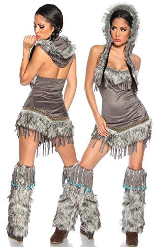Luna Sexy Indianerin Damenkostüm grau Einheitsgröße