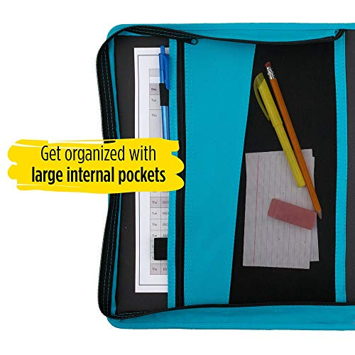 Five Star Zipper Binder, 1-1/2 Inch 3 Ring Binder, Internal Pocket for Storing Paper & Supplies, Durable, Teal (72358) Photo #4