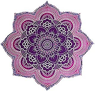 ClassAmol Large Round Lotus Flower Mandala Tapestry - 100% Cotton - Outdoor Beach Roundie - Hippie Gypsy Boho Throw Towel Tablecloth Wall Hanging Yoga/Picnic/Camping Mat (72