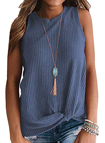 MIHOLL Womens Casual Tops Sleeveless Cute Twist Knot Waffle Knit Shirts Tank Tops (Large, Blue)
