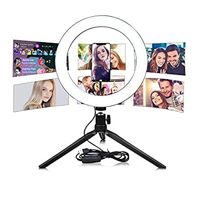 "10"" Selfie Ring Light with Tripod Stand Cell Phone Holder for Live Stream YouTube Video Makeup Vlog for Most Phones"