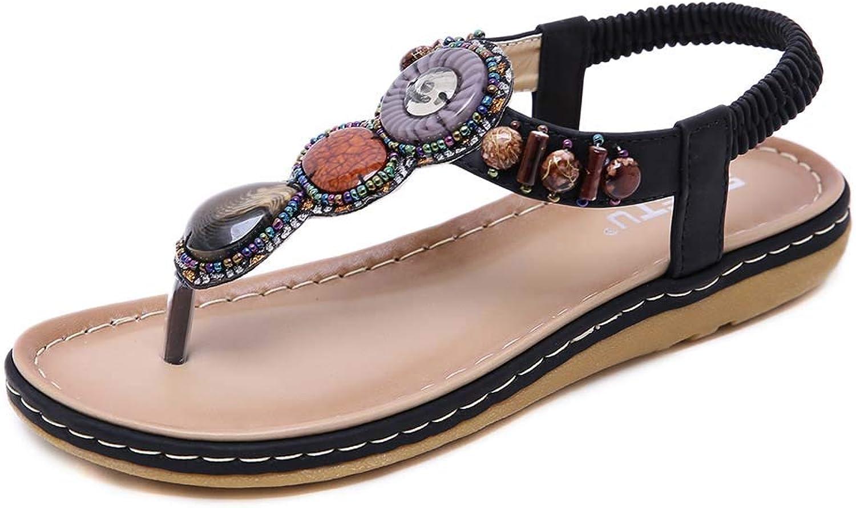 Women's Elastic Sparkle Flip Flops Bohemia Summer Beach Clip Toe Ankle Strap Flat Casual Sandals shoes,Black,40