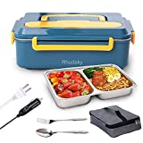 Electric Lunch Box Food warmer,3 in1 Portable heated lunch boxes (2021 Upgrade.100% Leak Proof) 12V 24V 110V luncheaze Food Heater for Car, Truck & Home,Stainless Steel Container,with fork spoon & Bag