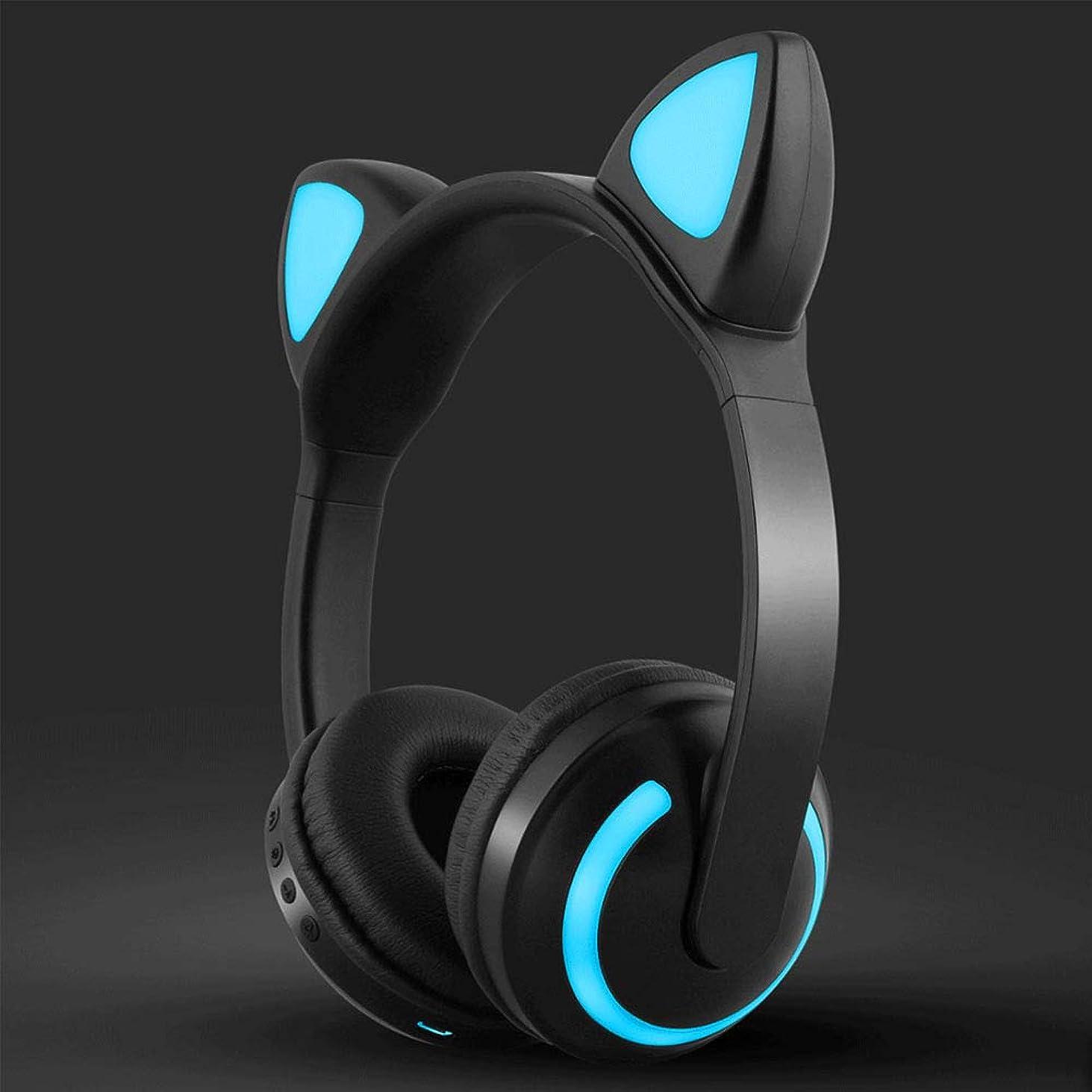 立方体海軍場合耳の上のワイヤレスヘッドフォン、7色のLEDライトアップ猫耳Bluetoothヘッドフォン、快適な革製イヤーマフ、ラップトップ/PC/TV用マイク