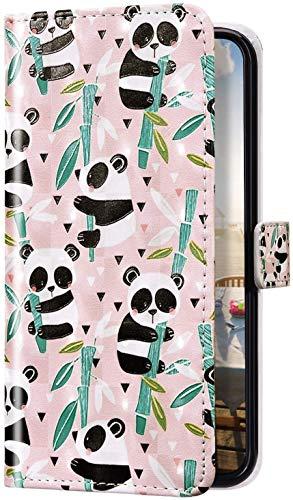Uposao Kompatibel mit Samsung Galaxy S8 Plus Hülle Glitzer Bling 3D Bunt Marmor Leder Hülle Flip Schutzhülle Handyhülle Brieftasche Wallet Leder Tasche Case Magnet Ständer Kartenfach,Cute Panda
