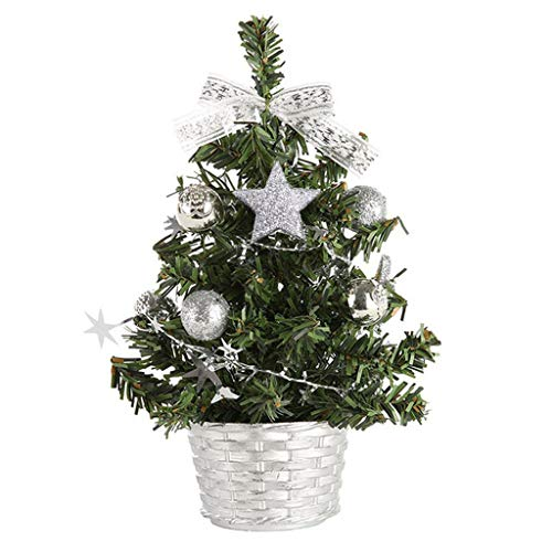 HINK Albero di Natale in Legno, Decorazione Natalizia, ripiano Artificiale Mini Christmas Tree Artificial Mini Christmas Tree Festival Miniature Tree Natale Regalo (Argento, 20cm)