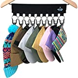 The ORIGINAL PackHat USA XL Cap Organizer Hanger, 9 Baseball Cap Holder, Hat Organizer For Closet - 9 XL Rubberized Stainless Steel Clips - Change Your Clothing Hanger to a Hat Hanger Hat Rack