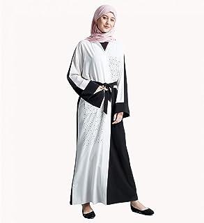 LJMSL Abayas Islamic Abaya Beading Cardigan Maxi Dress Open Stitch Long Robe Gowns Kimono Ramadan Islamic Clothing Worship...