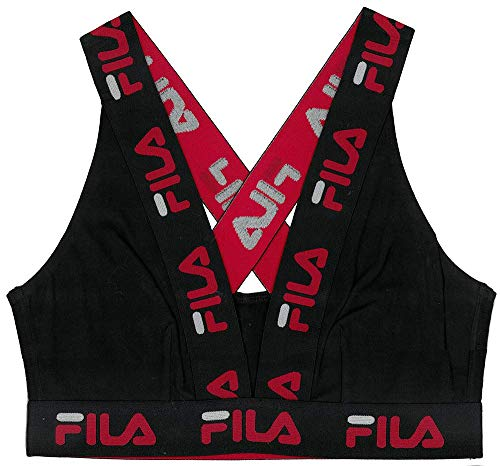 Fila Women's Logo Cotton Cross-Back Sports Bra, Black, Medium