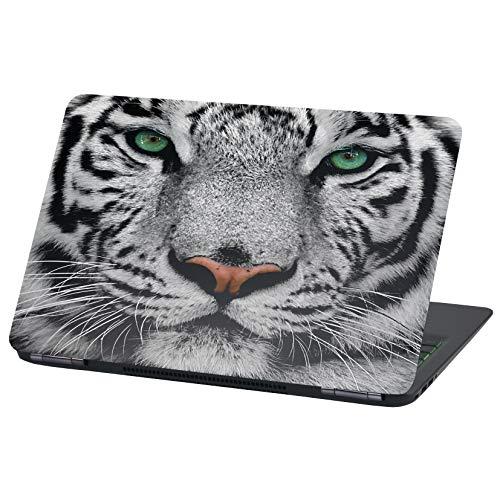 Adhesivo de vinilo para portátil de 13 a 14 pulgadas, diseño de tigre blanco