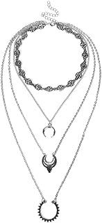 Goodtimes28 Frauen Collier Vintage Ethnic, Mehrschichtige Halsband Choker Halskette Kette Schmuck Party Geschenk, Legierung, Silberfarben Antik-Optik, 1