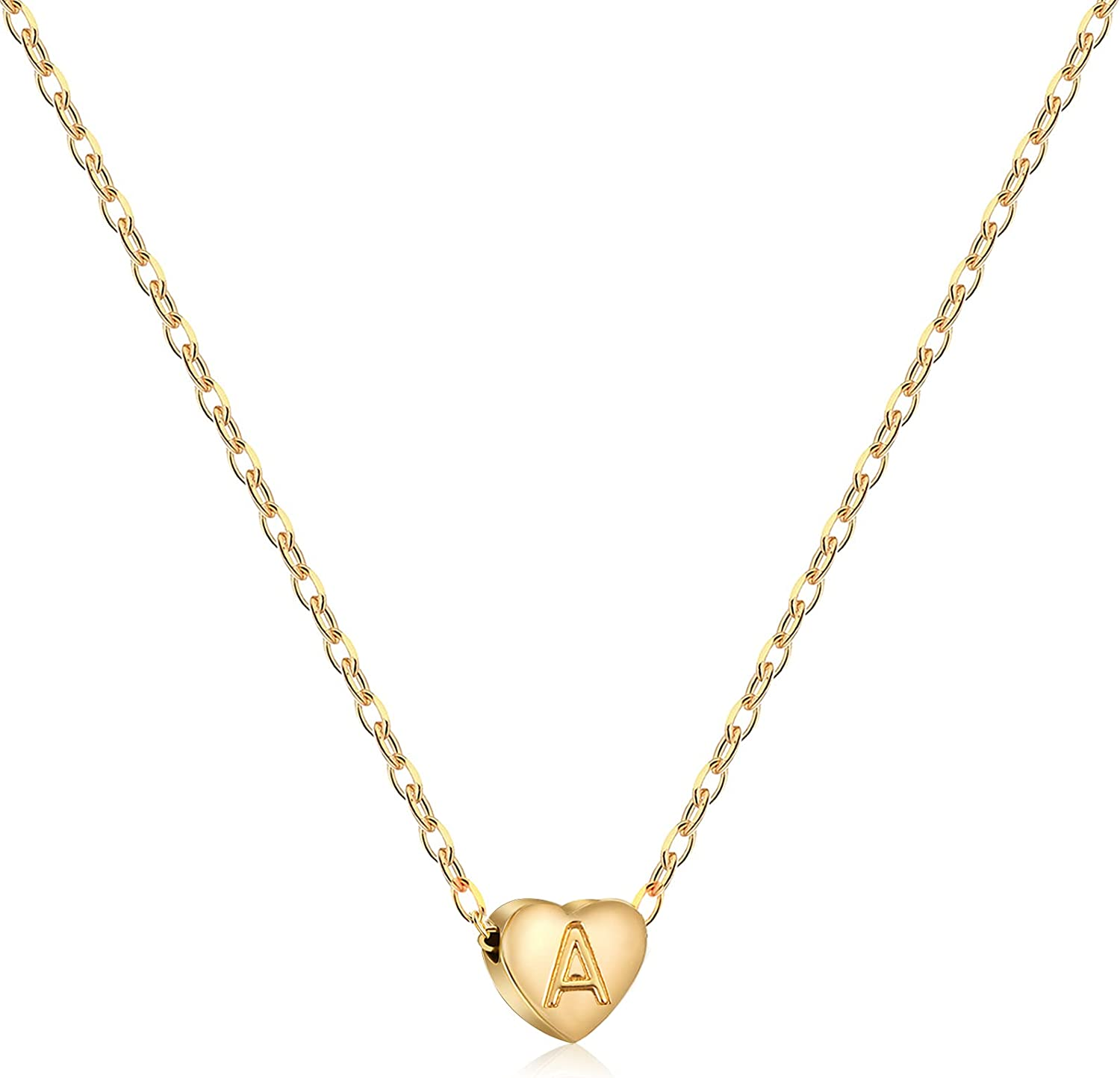 MJartoria Gold Initial Heart Choker Necklace for Women 24K Gold Plated Dainty Tiny Initial Heart Pendant Personalized Engraved A-Z Letter Heart Necklaces Jewelry Birthday Gifts for Teen Girls