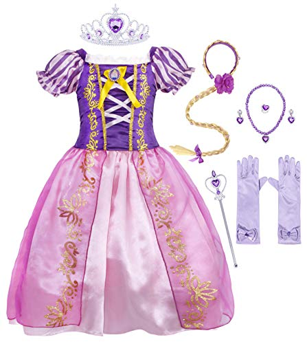 AmzBarley Girls Princess Party Dress Costume for Kids Halloween Cosplay Birthday Holiday Party Dress up Pageant Carnival Evening Childs Outfit with Wig and Accessories Size 6(5-6Years)