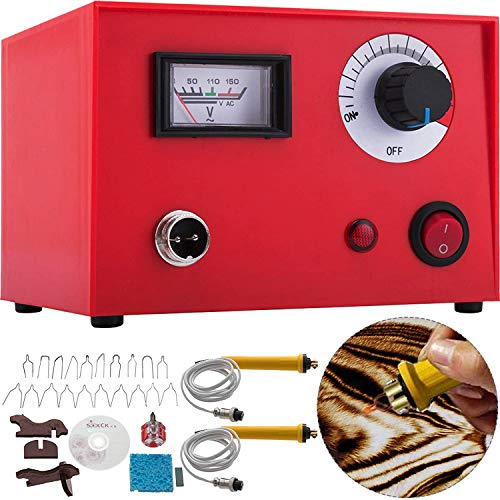 Pyrography Machine 110V 50W Multifunction Wood Pyrography Kit Digital Display Pyrography Crafts for Wood Burning Dual Pen Pyrography Tool