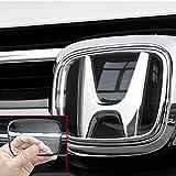JX-SHOPPU ホンダ エンブレム ロゴ カバー 保護カバー 車種専用設計 高透明 アクリル樹脂素材 キズ防止 汚れ防止 カーパーツ フロント リア 2枚セット (TYPE1:14cm 11.7cm)