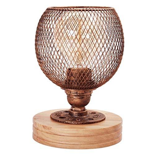 Lámparas Moderna simple de dormitorio Mesita de luz de la lámpara de lectura Estudio de hierro forjado de la lámpara lámpara de mesa Cafetería retro de madera de atenuación de la lámpara pequeña tabla