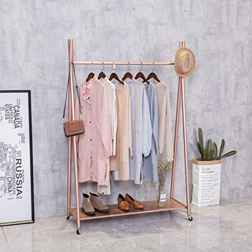 FURVOKIA Modern Simple Heavy Duty Metal Rolling Garment Rack with WheelRetail Display Clothing RackIron Floor-Standing Shoes Bags Clothes Organizer Storage Shelves Rose Gold 472 L
