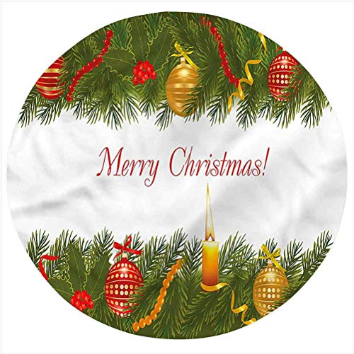Christmas Flannel Throw Blanket,Tree Candle Greeting Bed Throws Novelty Gifts for Him/Her, Pets, Travelers, Officers, Lovers, Friends, Round 70 Inches