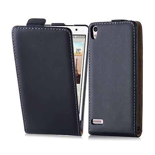 Cadorabo Hülle für Huawei P6 - Hülle in KAVIAR SCHWARZ – Handyhülle aus glattem Kunstleder im Flip Design - Case Cover Schutzhülle Etui Tasche