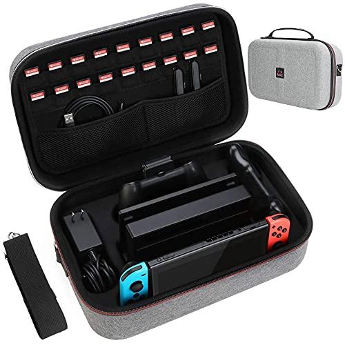 HEYSTOP Etui pour Nintendo Switch Pochette avec 18 Emplacement pour Carte de Jeu,Étui de Transport de Voyage à Coque Rigide, adapté aux Consoles de Jeu et Accessoires Nintendo Switch, Gris