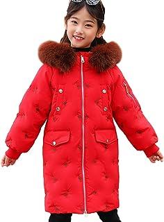 040060186cd3 SXSHUN Abrigo de Plumas con Capucha de Pelo para Niñas Parka Gruesa de  Invierno con Bordado