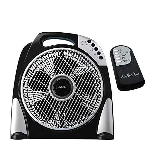AirArtDeco Ventilatore da Tavolo Box Fan, Ultra Silenzioso Ventilatore da Scrivania, 12 Pollici con Telecomando, 3 Velocità di Rotazione, 3 Modalità vento, Timer 7.5H, Nero