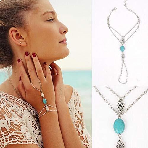 TseenYi Pulsera de cadena de dedo de color turquesa pulsera de dedo de plata Boho joyería de cadena de mano para mujeres y niñas