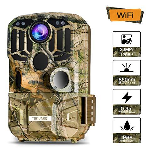 """TOGUARD WLAN Wildkamera 20MP 1296P Video Jagdkamera mit Bewegungsmelder Nachtsicht 120 ° Weitwinkel IP66 Wasserdicht Überwachungskamera mit 2\"""" LCD Display"""