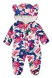 Kids4ever Baby Snowsuit Cartoon Bear Hooded Romper Flannel Footie Pajamas(Flower, 3-6 Months)